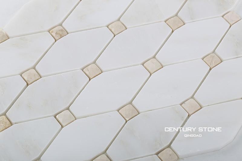 poliertem weißem marmor lange octagon mosaik-fliesen badezimmer, Hause ideen