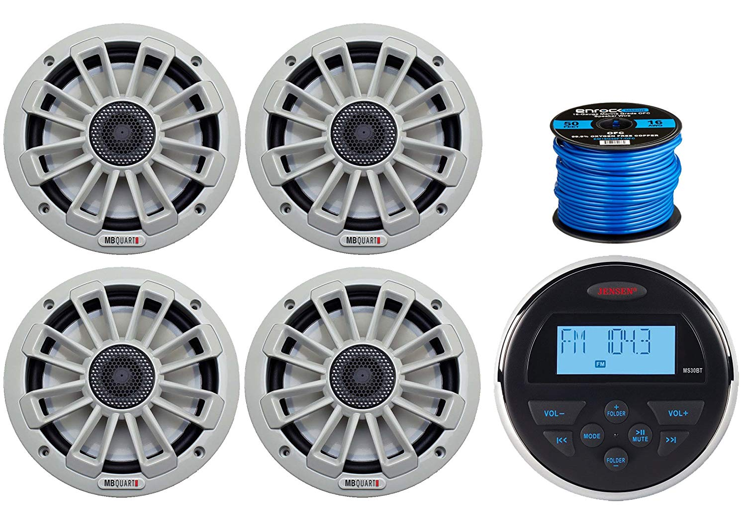"Jensen MS-30BTR Mechless Compact Waterproof Stereo w/Bluetooth & USB Inputs, 4 x MB Quart NK1-116 6.5"" 2-Way Coaxial Marine Audio Stereo Speakers, Enrock Marine-Grade 50 Foot 16-Gauge Speaker Wire"