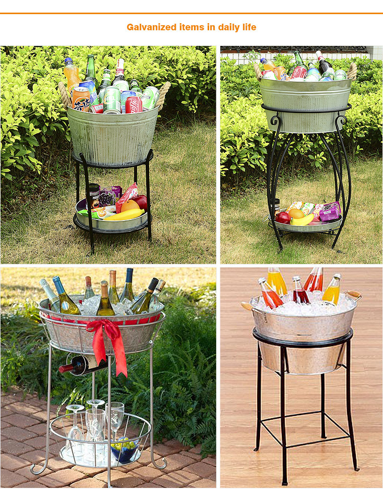 Fresh Simple Large Round Galvanized Beverage Tub With Stand For Party  ME04