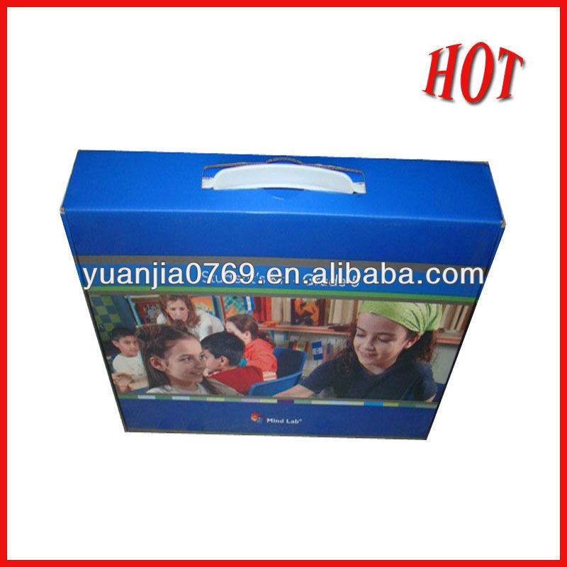 Glossy effection handle printed paper box for package