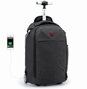 OEM travel portable laptop computer rolling trolley wheeled packing bag with usb charging