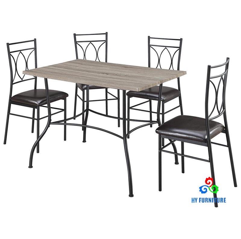 Kitchen wooden table and 4 pieces leather chairs with metal frame supplier