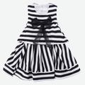 New Fashion Korean Sweet Kids Girls Sleeveless Stripe Print Splicing Bow Dress