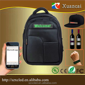 LED Bag/Hat/Belt/Bottle Flexible Sign with Smart Phone Bluetooth Button Key Remote Control Cell/Rechargeable Battery Displays
