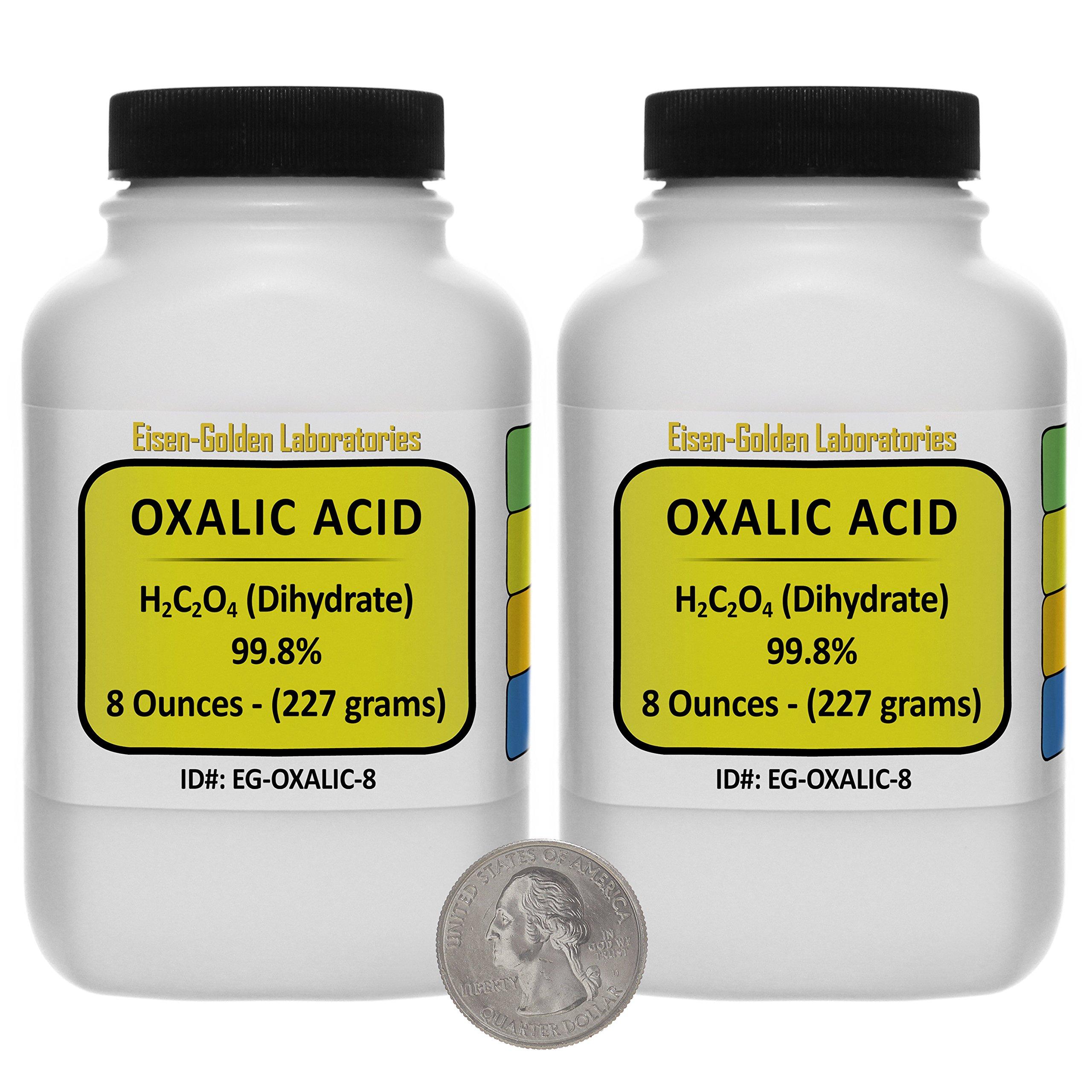 Oxalic Acid [C2H2O4] 99.8% ACS Grade Powder 1 Lb in Two Space-Saver Bottles USA