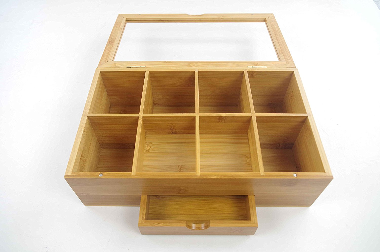 Bamboo Tea Storage Organizer Box With Clear Lid BTB-18051001 Details 3
