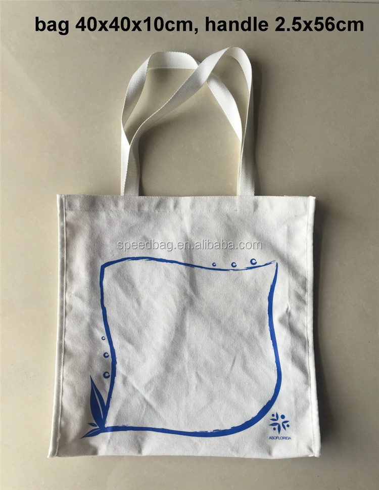 Custom white color standard size print canvas tote bag webbing handle