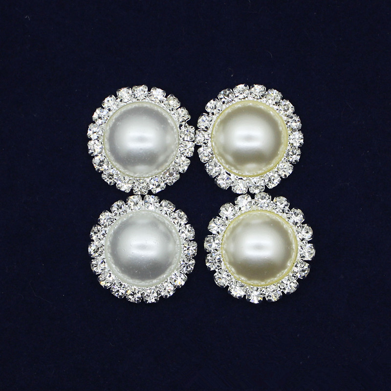 21MM Wholesales Fashion Silver Plated Alloy Ivory Pearl Crystal Rhinestone Button For Baby Girl Jewelry Garment Accessor