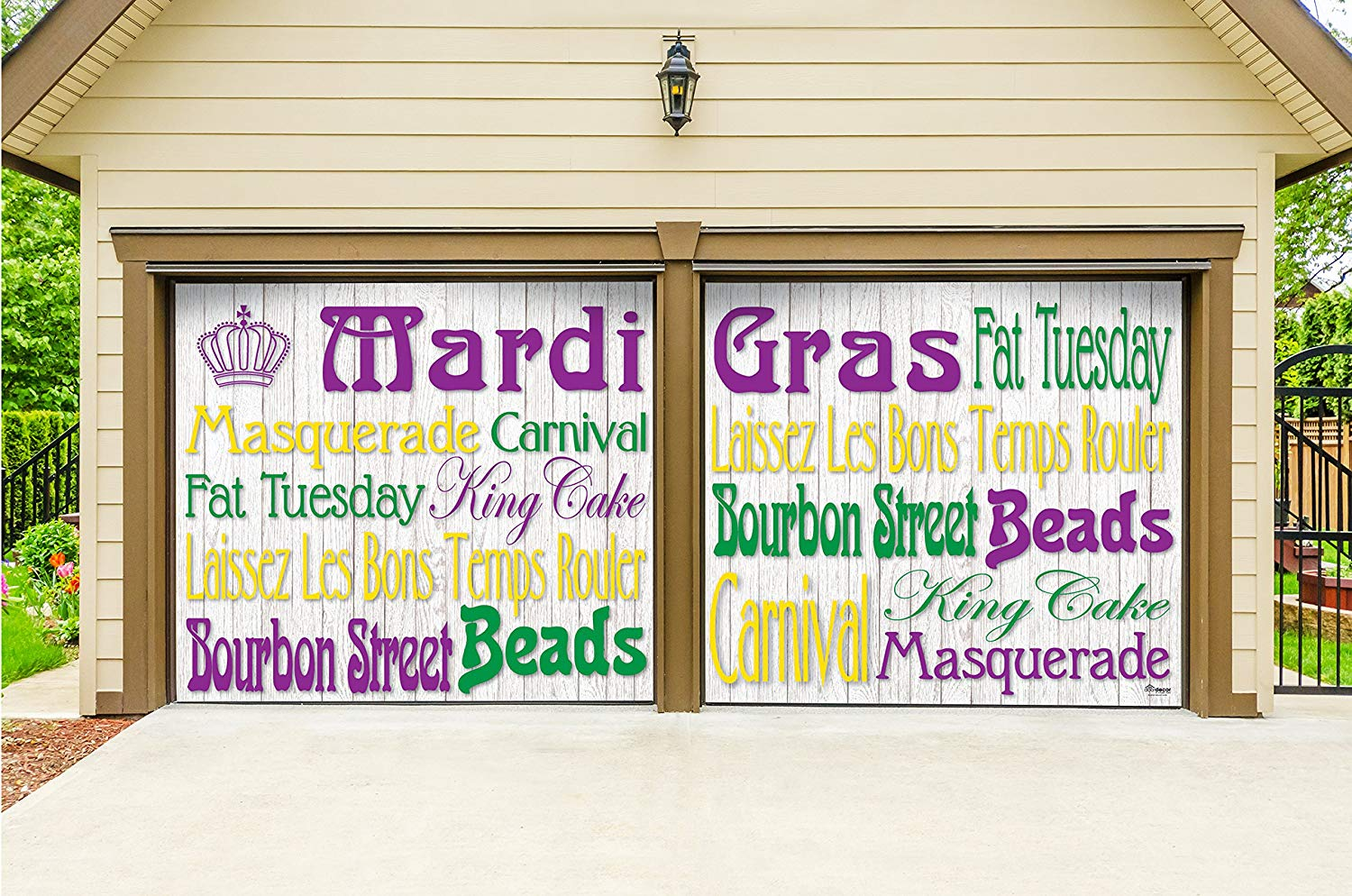 Victory Corps Outdoor Mardi Gras Decorations 2 Car Split Garage Door Banner Cover Mural - Mardi Gras Words, Two 7'x 8' Graphic Kits - The Original Mardi Gras Supplies Garage Door Banner Decor