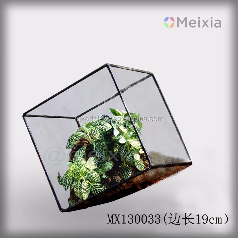 Mx130033 Tiffani Soldered Stained Glass Terrarium For Plant Pot
