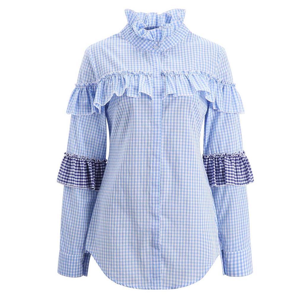 Alibaba.com / Women Blue Plaid Blouse Patchwork Shirts Long Sleeve Casual Fashion Ruffled Autumn Blouses Tops Blusas New 2019 Girls Clothing