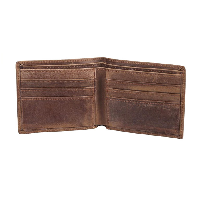 Hot selling man bifold genuine leather wallet