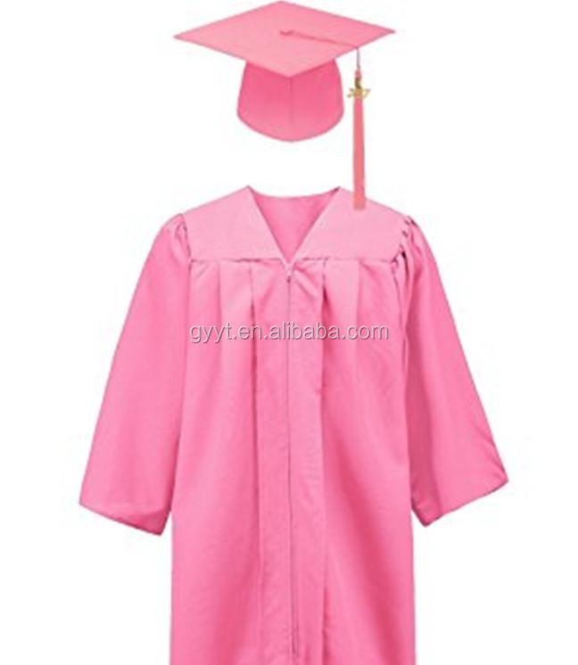 Academic Matte Pink Graduation Gown Disposable Bachelor Gown - Buy ...