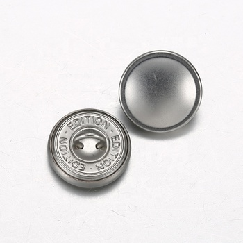 New Designs Custom Engraved Logo Sewing Flat Metal Shank Button For Shirt