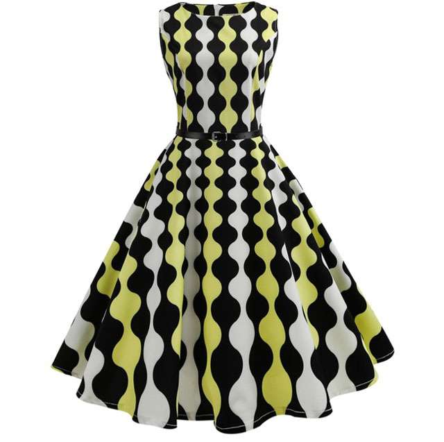 c2e3d87ea3e Jurken летние платья Повседневное для женщин цветочный принт Ретро Туника  Хепберн 50 s 60 большие качели