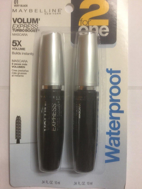 8d00d85e682 VALUE PACK Maybelline Volum' Express Turbo Boost Mascara Very Black  WATERPROOF