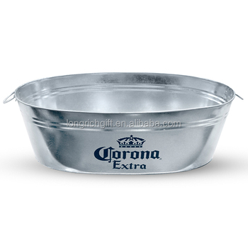 oval large metal ice bucket with custom logo for promotion with bottle opener