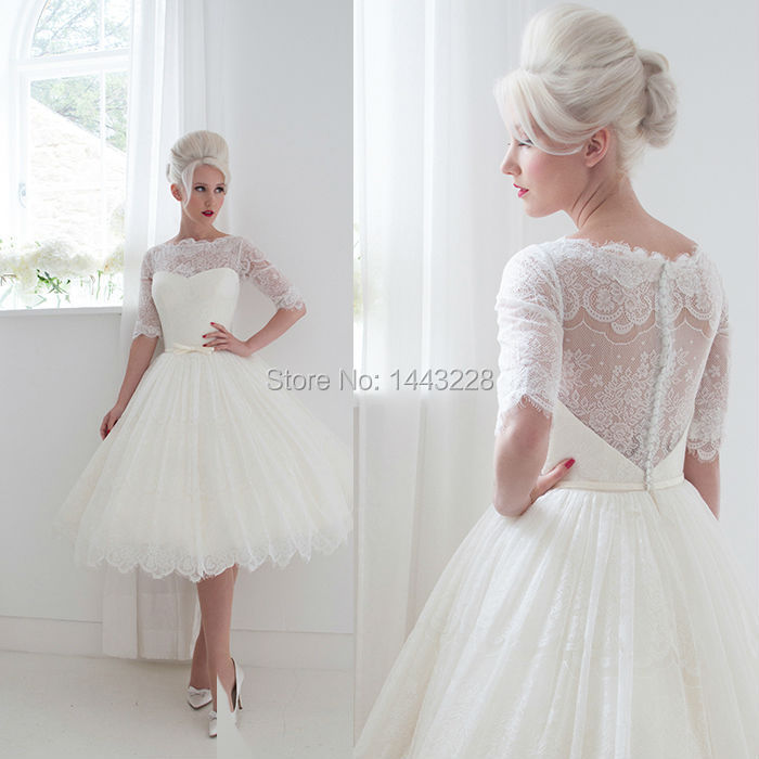 Tea Length Wedding Dresses With Lace Sleeves 82