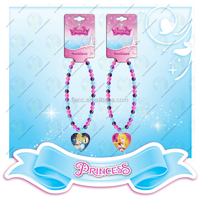 Popular kids Jewelry Colorful Bead Necklace set with Princess Heart Pendant