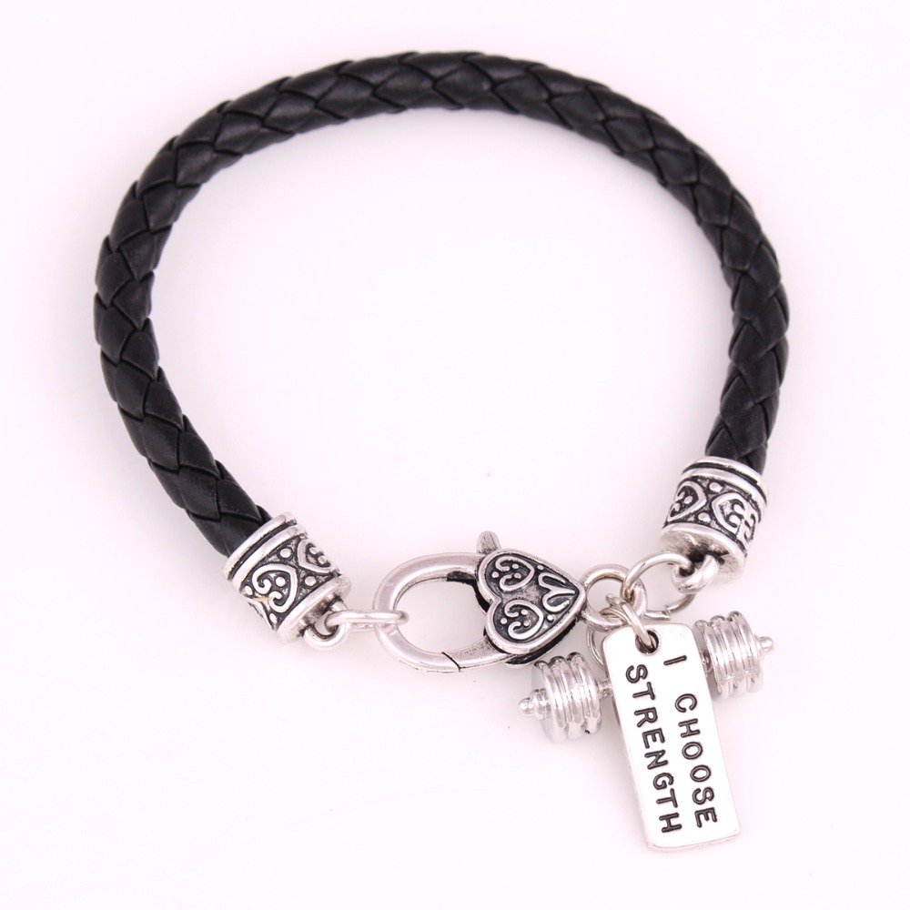 Black Leather Braided I CHOOSE STRENGTH Weight Lifting Fitness Dumbbell Barbell Charm Bracelet