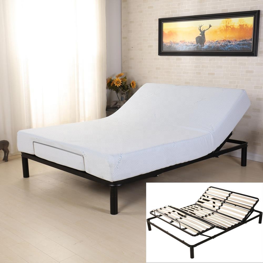 Modern cheap wood slatted Frame adjustable bed