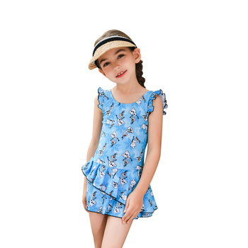 Rhyme Lady Little Girls Cute Tiny Sun Cloud Pattern Swimming Dressing Suit Kids Pleated Skirt Bathing Suits