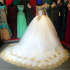 ON1314 White Gold Appliques Ball Gown Long Sleeves Wedding Dresses With Color Corset Back Dubai Vintage Wedding Gowns