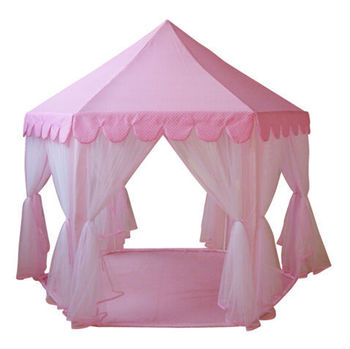 AIOIAI Large Baby Play Tent Lovely Girls' Playhouse Pink Princess Play Tent for Kids