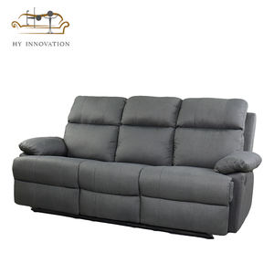 High quality three seat sofa elephant suede fabric recliner sofa with cup  holder