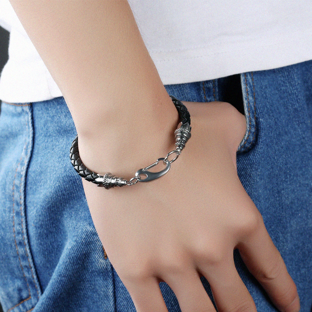 New Products 2018 Mens Silver Clasp Braided Black Thin Leather Bracelet