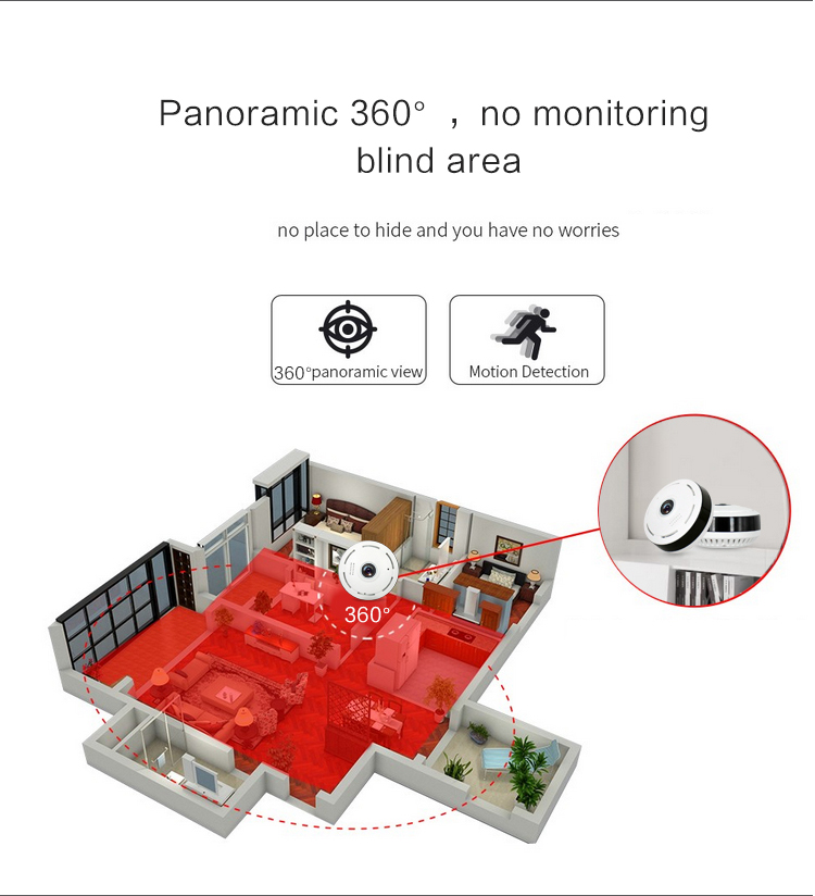 CCTV p2p smart net spycam wide angle lens panoramic wifi vr ip camera 360