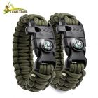 Wholesale outdoor camping gear military custom logo tactical emergency survival flint fire starter whistle paracord bracelet 550
