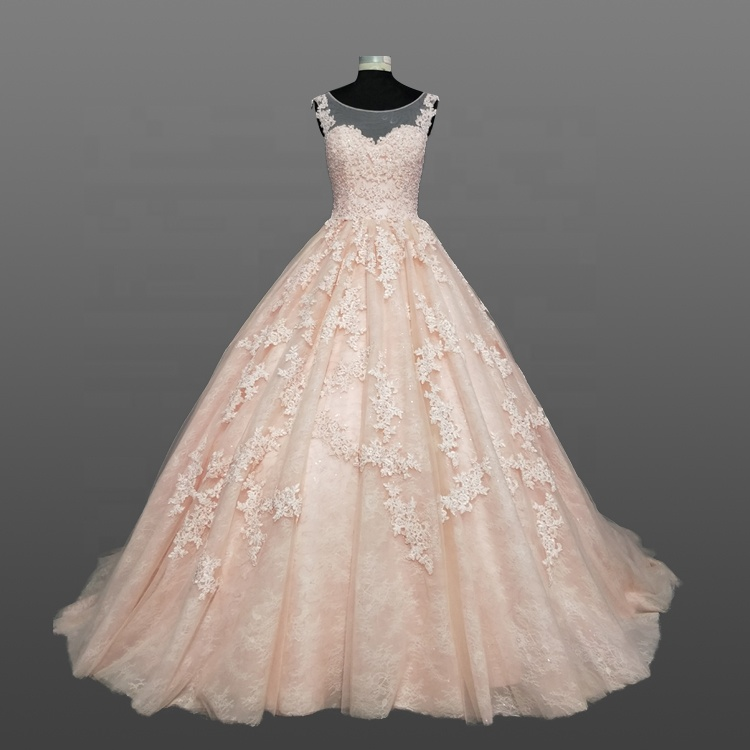 Custom Made Peach Wedding Dress Made In China 2018 Ball Gown Bridal Dresses Gowns