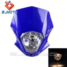 ZJMOTO Headlight For Motorcycle H4 12V 35/35W Universal Dirt Bike Off Road Headlights Motorcycle KTM Headlight