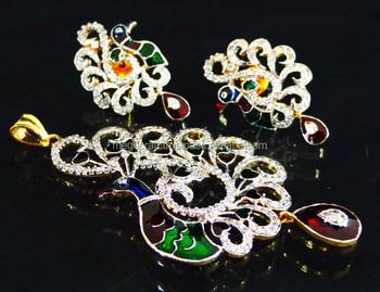 Pea American Diamond Pendant Earring Set Cz Jewelry Indian