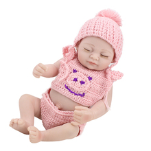 Full Body Siliconen Reborns 10 Inch Soft Mini Newborn Reborn Baby Girl Baby Sleeping Dolls New Born Toys For Children Princess