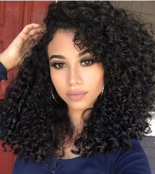 150 Natural Black Beach Wave Deep Curly Full Lace Brazilian Human