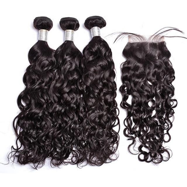 Hair weave loose water wave eurasian curly hair water curls bundles with closure