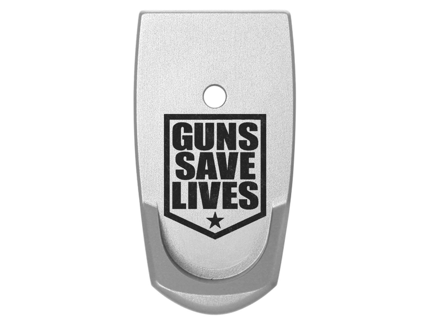 Guns Save Lives Patch Grip Extension Floor Base Plate V2 Silver Silver for S&W Smith & Wesson Shield 9mm .40