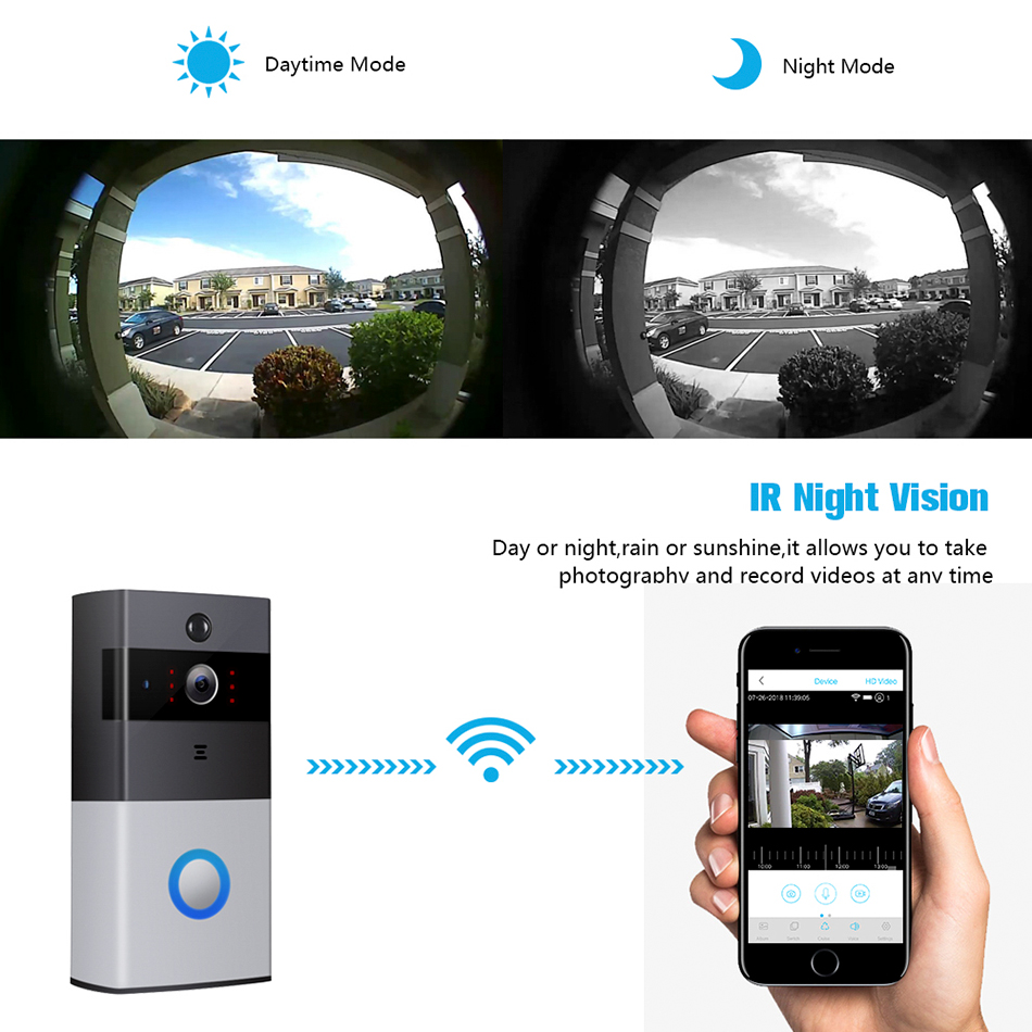 720P IP video intercom wifi doorbell camera for apartments IR alarm wireless security camera