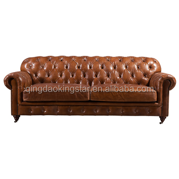 Modern Upholstered Leather Chesterfield Sofa