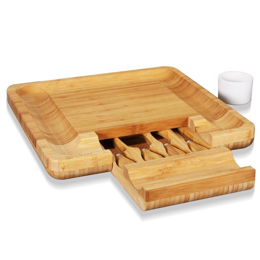 Wholesale disposable stand up paddle large cutlery set wine knife set mini cutting wooden bamboo cheese board set with drawer фото