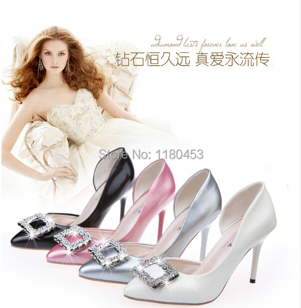 005b47fadfd Get Quotations · Hot selling Rhinestone square buckle pointed women high  heel shoes 2015 summer shoes woman new side