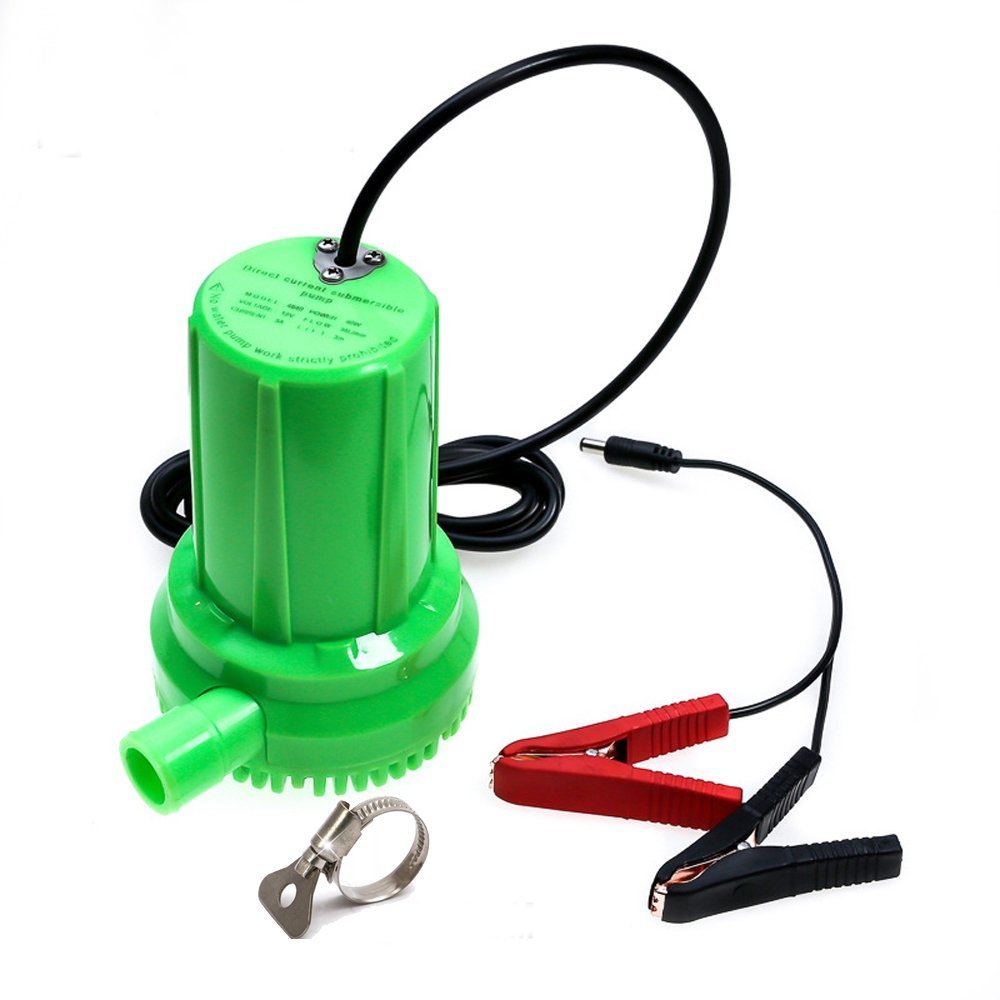 NUZAMAS DC 12V 60W Submersible Water Pump Solar Powered Water Pump with 5.9ft Cable & Alligator Clips, 630GPH, 9.8ft Lift