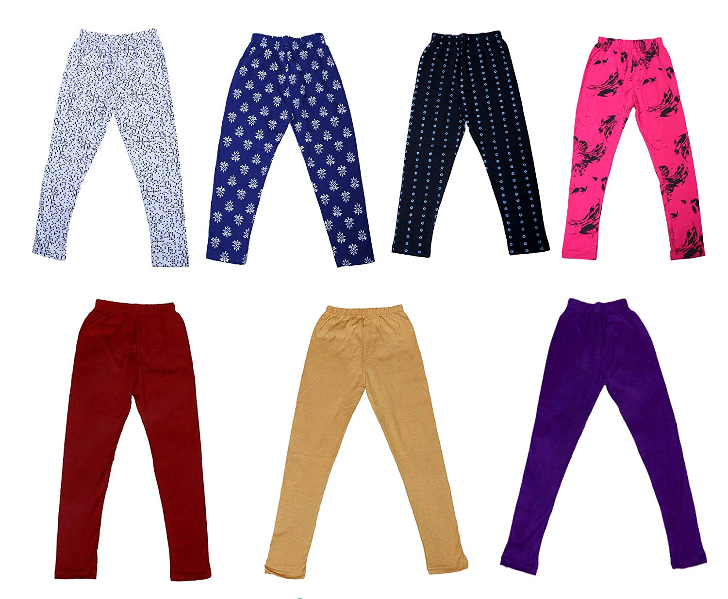 Indistar IndiWeaves Girls Super Soft and Stylish Cotton Printed Legging Pack Of 3