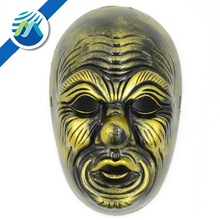 Hot Sale Halloween Party Performing Terrorist Old Man Mask/Male Wizard Gold Bronze Mask