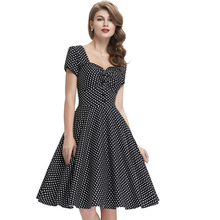Belle Poque Ladies Short Sleeves 50s Retro Vintage Cotton Black Dress With White Polka Dots BP000113-1