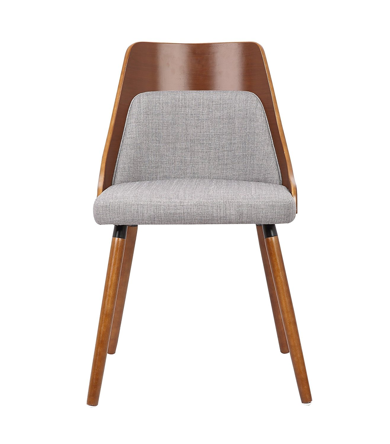 Container Furniture Direct Porter Collection Mid Century Wood and Fabric Upholstered Dining Chair with Solid Wood Legs, Grey