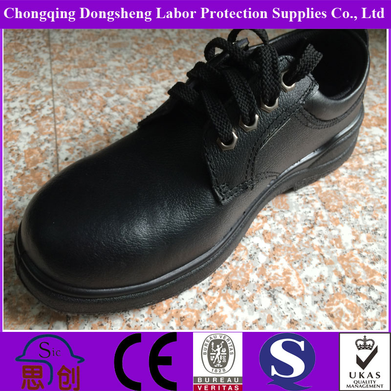 Black Lace Up Labor Protection Shoes In Construction Plant