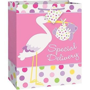Fancy Pink Stork Baby Shower Large Paper Gift Bag
